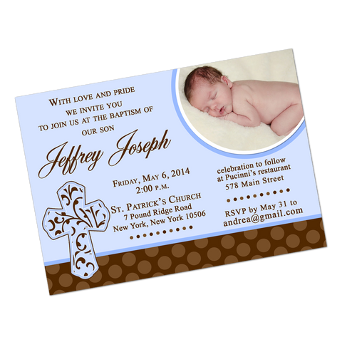 Religious Cross Digital Baptism Invitation