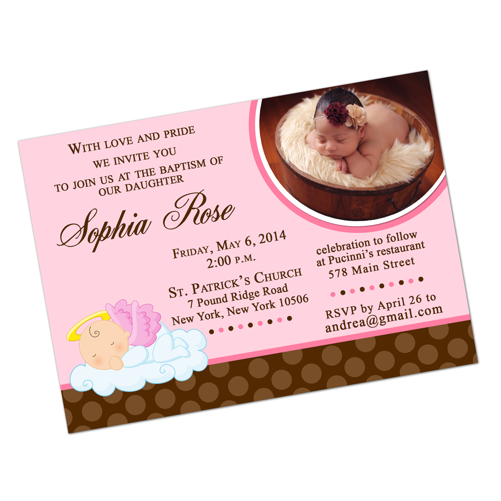 Pink Angel Baby Digital Invitation Religious Invite - INKtropolis