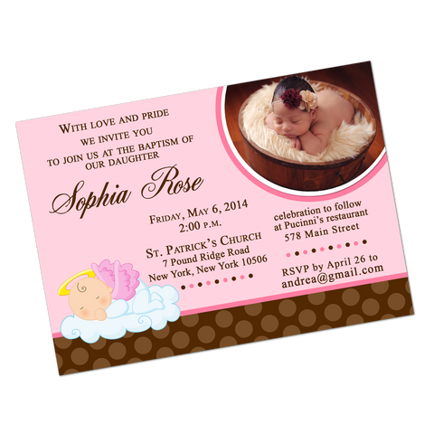 Pink Angel Baby Digital Baptism Invitation