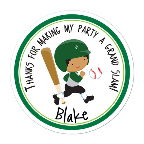 Baseball Player African American Boy Personalized Sticker