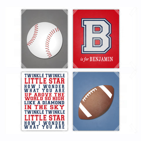 Personalized Sports Football Baseball Nursery Wall Art - Set of 4