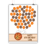 Personalized Birthday Guest Book Alternative - Basketball Balloons - Customized Poster, Print, Framed or Canvas, 50 Signatures Birthday Guest Book Alternative - INKtropolis