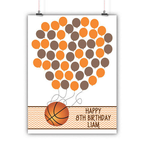 Personalized Birthday Guest Book Alternative - Basketball Balloons - Customized Poster, Print, Framed or Canvas, 50 Signatures