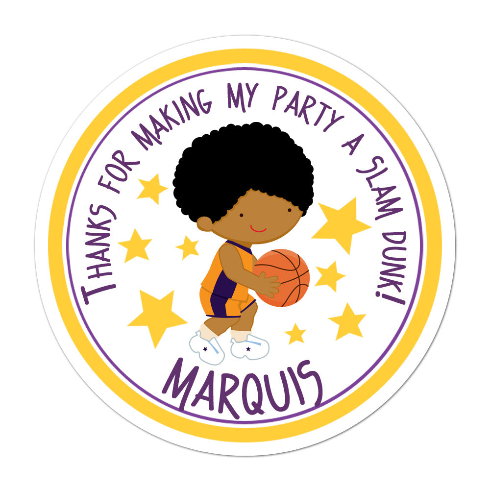 Basketball Player African American Boy Personalized Sticker Birthday Stickers - INKtropolis