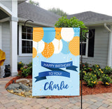 Personalized Boys Birthday Balloons Garden Flag - Party Flag - Birthday Sign