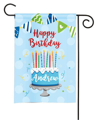 Personalized Happy Birthday Cake Garden Flag - Party Flag