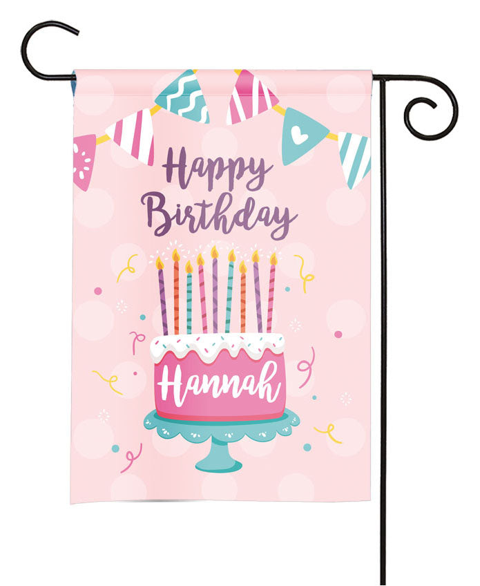 personalized girls birthday cake party flag