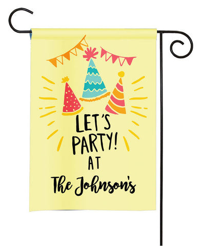 Personalized Celebration Let's Party Garden Flag - Party Flag - Birthday Sign
