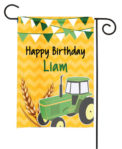Personalized Happy Birthday Tractor Garden Flag - Party Flag - Birthday Sign