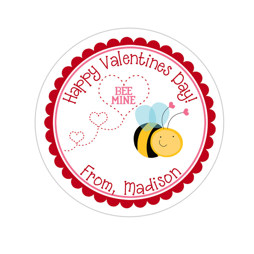 Bumblebee Valentines Day Personalized Sticker Valentines Day Stickers - INKtropolis