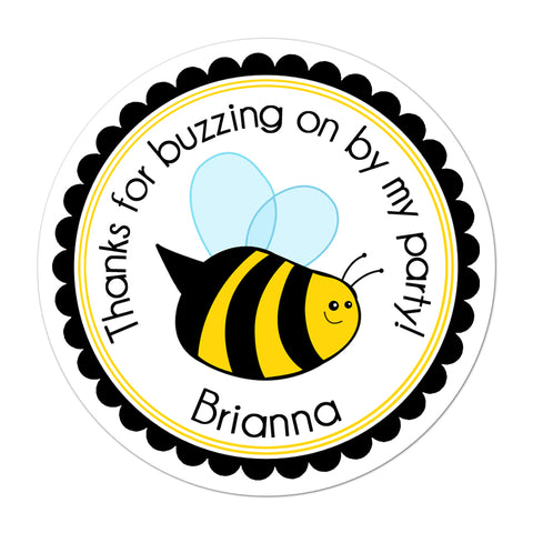 Bumble Bee Personalized Birthday Favor Sticker