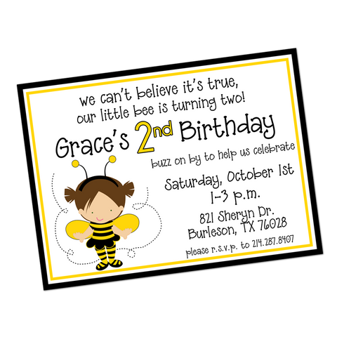 Bumblebee Costume Digital Birthday Invitation