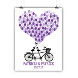 Wedding Guest Book Alternative Poster, Print, Framed or Canvas - Tandem Bike - 150 Signatures wedding guest book alternative - INKtropolis