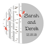 Birch Tree With Birds Personalized Sticker Wedding Stickers - INKtropolis