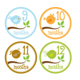 Baby Birds Monthly Baby Stickers onesie sticker - INKtropolis