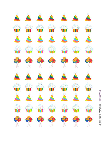 Monthly Planner Stickers Rainbow Birthday Cupcakes Balloons Party Hat Stickers Planner Labels Compatible with Erin Condren Life Planner - 70 Stickers