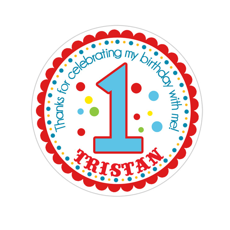 Circus Font Age Number Personalized Sticker Birthday Stickers - INKtropolis