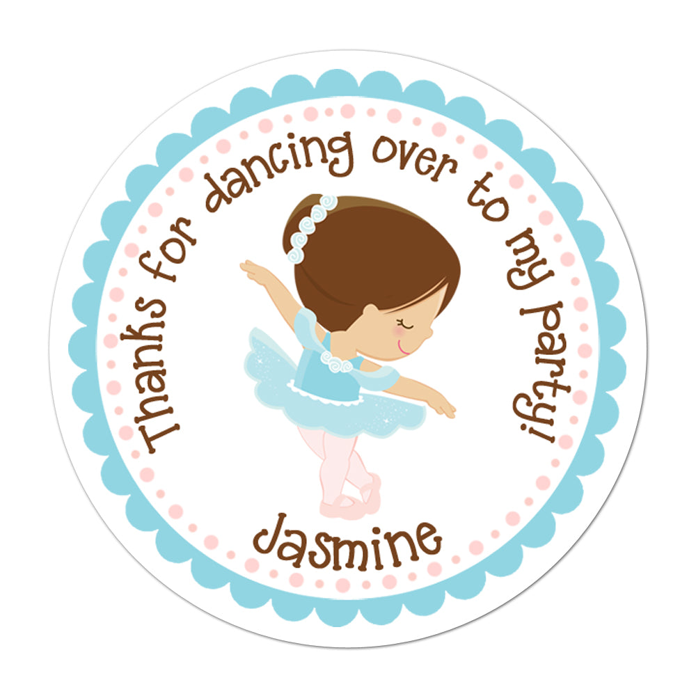 Blue Tutu Ballerina Personalized Sticker Birthday Stickers - INKtropolis