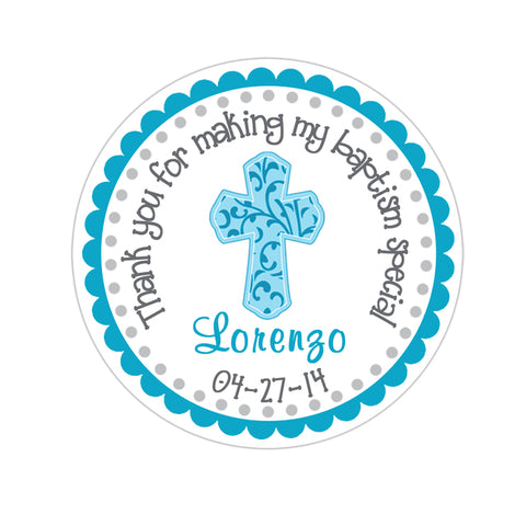 Scallop Border Filligree Cross Personalized Baptism Favor Sticker