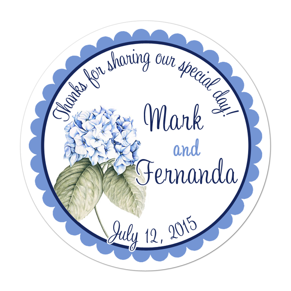 Blue Hydrangea Personalized Sticker Wedding Stickers - INKtropolis
