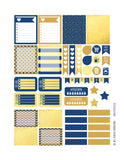 Monthly Planner Stickers Blue and Gold Tone Sampler Stickers Planner Labels Compatible with Erin Condren Vertical Life Planner planner sticker - INKtropolis