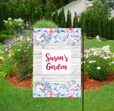 Personalized Garden Flag - Rustic Pink and Blue Floral