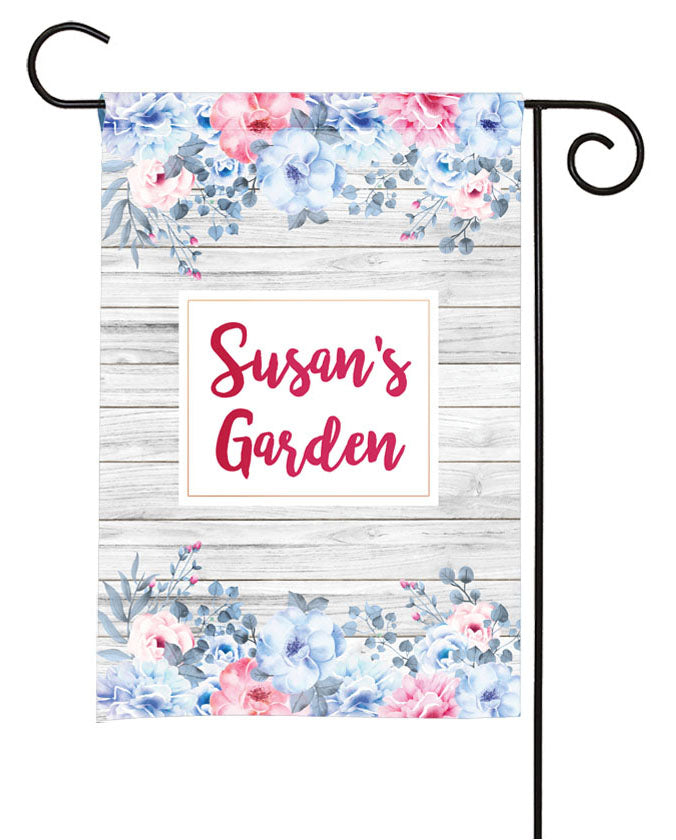 personalized watercolor floral yard flag
