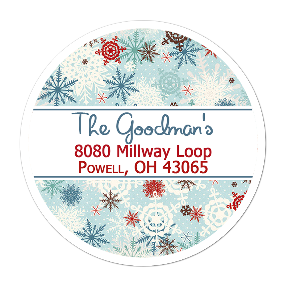 Blue Snowflakes Personalized Sticker Christmas Stickers - INKtropolis