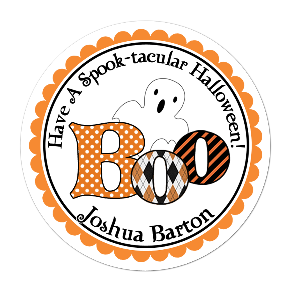 Boo Ghost Personalized Sticker Halloween Stickers - INKtropolis