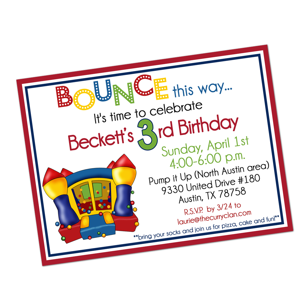 Primary Colored Bounce House Digital Invitation Digital Invitations - INKtropolis