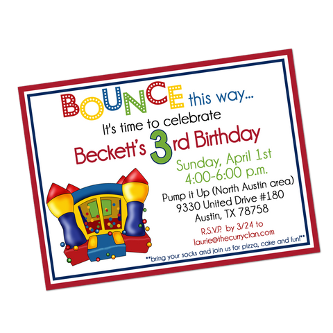 Primary Colored Bounce House Digital Birthday Invitation