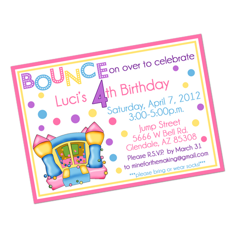 Pastel Colored Bounce House Digital Birthday Invitation
