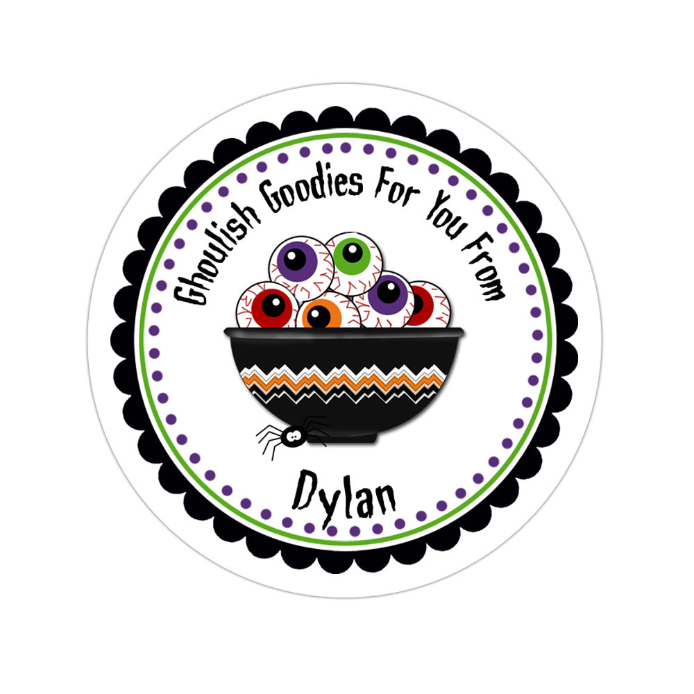 Bowl Of Eyeballs Personalized Sticker Halloween Stickers - INKtropolis