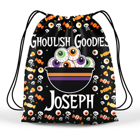 Personalized Halloween Trick Or Treat Bag, Kids Drawstring Bag - Bowl Of Eyeballs