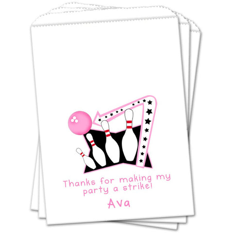 Girl Bowling Personalized Birthday Favor Bags