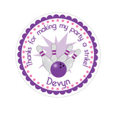 Purple Bowling Personalized Sticker Birthday Stickers - INKtropolis