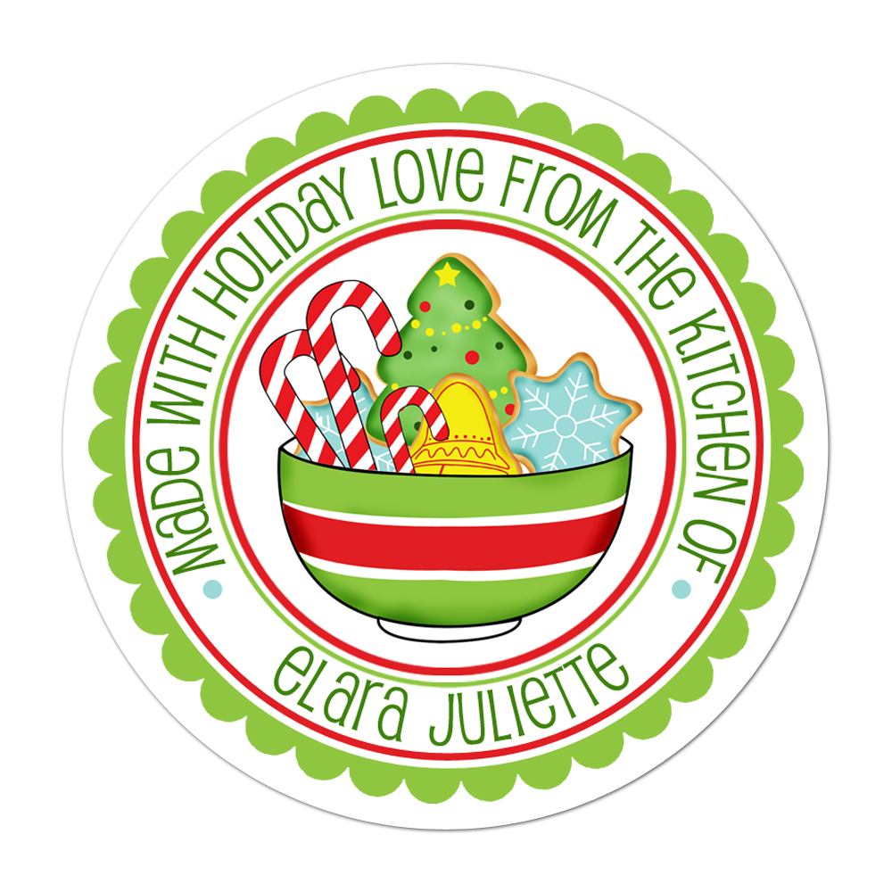 Bowl Of Cookies Personalized Sticker Christmas Stickers - INKtropolis
