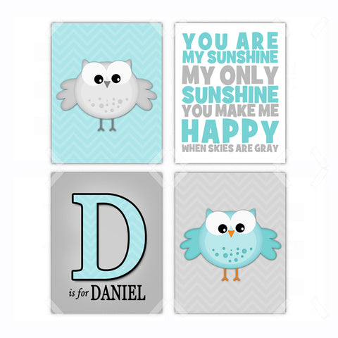 Boy Owl Nursery Wall Art Decor Poster, Print, Framed or Canvas - Set of 4