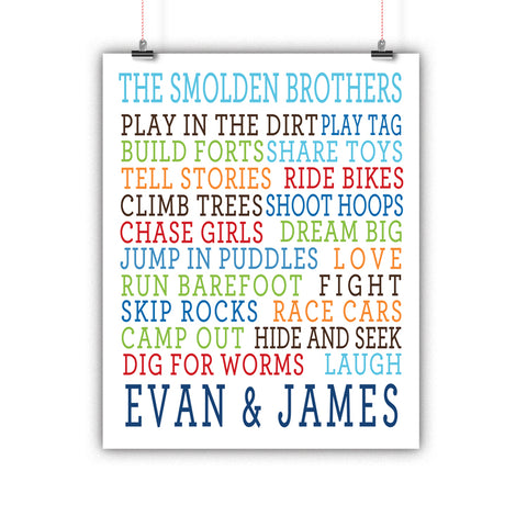 Brothers Wall Art, Nursery Decor, Kids Room, Poster, Print, Framed or Canvas