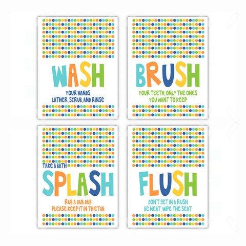 Kids Bathroom Rules Wash Brush Flush Wall Art -  Set of 4