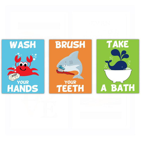 Bathroom Kids Rules Quotes Sayings Wash Brush Bath Poster, Print, Framed or Canvas - Set of 3