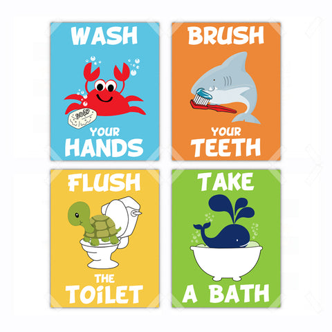 Bathroom Kids Rules Wash Brush Flush Bath Poster, Print, Framed or Canvas - Set of 4