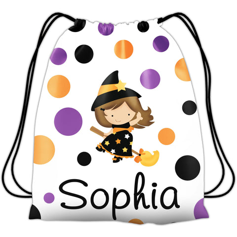 Personalized Halloween Trick Or Treat Bag, Kids Drawstring Bag - Brunette Witch