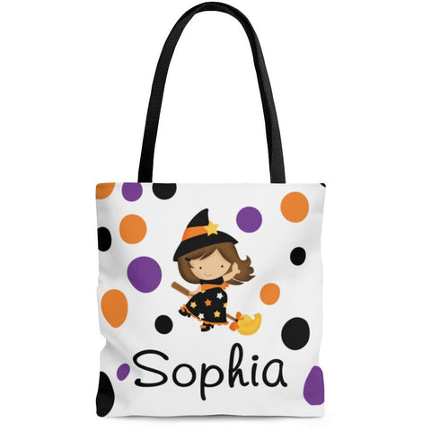 Personalized Halloween Trick Or Treat Bag, Kids Halloween Tote Bag - Brunette Witch