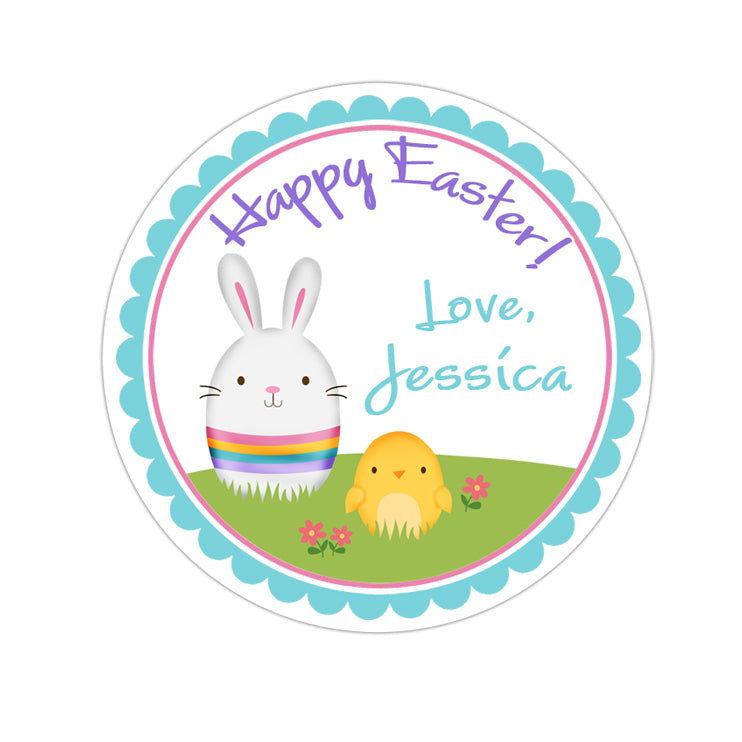 Easter Bunny and Chick Personalized Sticker Other Holiday Stickers - INKtropolis
