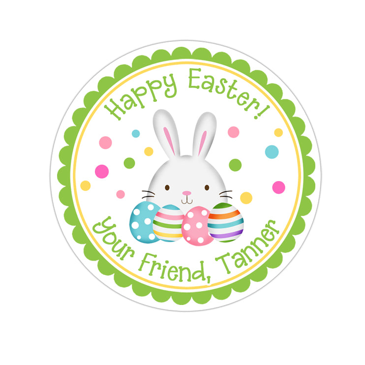 Easter Bunny With Eggs Green Border Personalized Sticker Other Holiday Stickers - INKtropolis