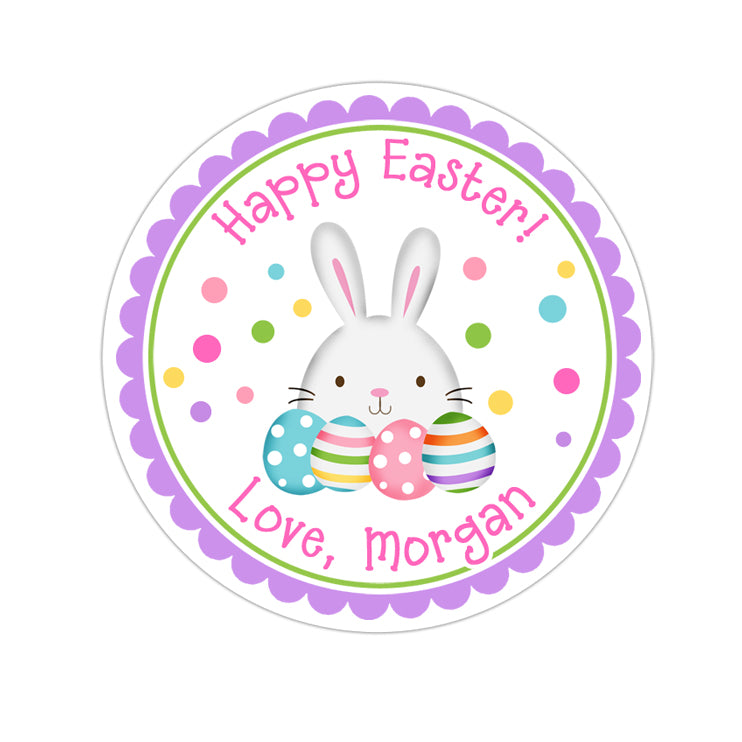 Easter Bunny With Eggs Pink Text Personalized Sticker Other Holiday Stickers - INKtropolis