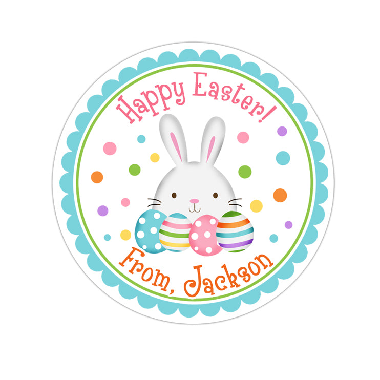 Easter Bunny With Eggs Blue Border Personalized Sticker Other Holiday Stickers - INKtropolis