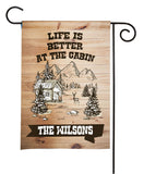 Personalized Camping Flag - Happy Campers - Rustic Cabin