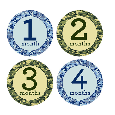 Blue & Green Camoflauge Monthly Baby Stickers